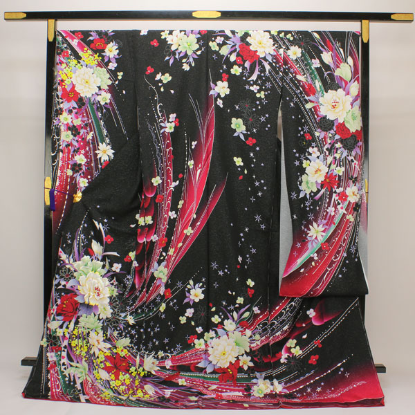 【袷のお仕立て付き】艶やか!丹後ちりめん 日本の絹 ラメ箔刺繍 豪華 花意匠 ぼかし 振袖 紋織り地 fs269【smtb-k】【w1】【後払い決済不可】