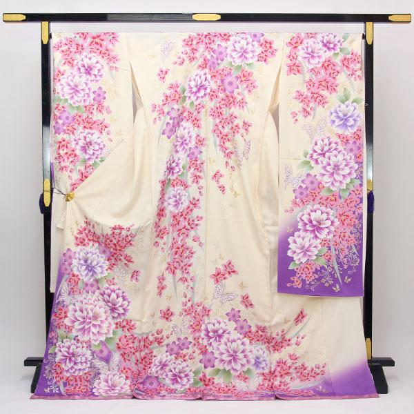 【袷のお仕立て付き】丹後ちりめん 日本の絹 使用 紋綸子 ラメ刺繍金彩加工 振袖「花」fs486 【smtb-k】【w1】【後払い決済不可】