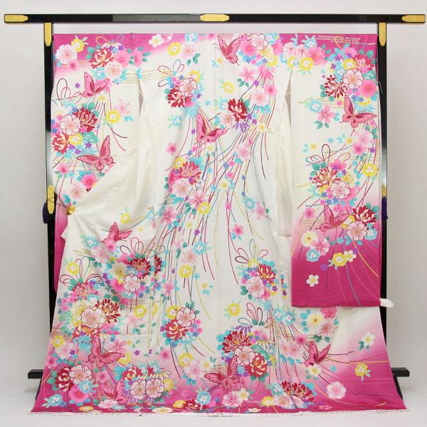 【袷のお仕立て付き】丹後ちりめん 日本の絹 使用 振袖 紋綸子 金彩加工「花束」fs489 【smtb-k】【w1】【後払い決済不可】