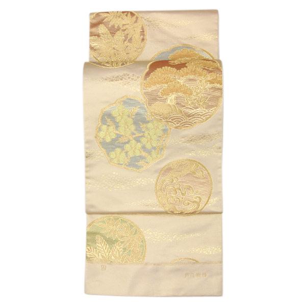 川島織物 錦織 fo2924【あすかや】 袋帯 礼装用 西陣 「鏡宝円文」