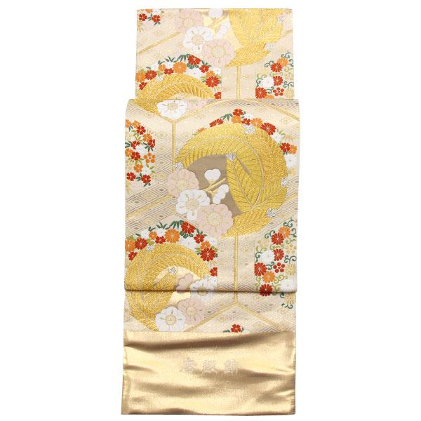 【お仕立て付き】振袖に 西陣織 ふくい謹製 最高級 袋帯 金箔「亀甲紋に羽模様」フォーマル用 fo3063【smtb-k】【w1】【後払い決済不可】