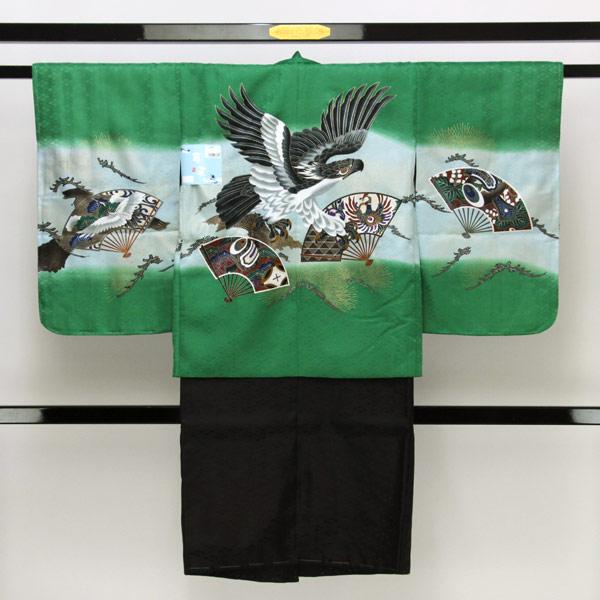 【お仕立て上がり】七五三用 五歳男の子用 お祝い着 羽織 晴れ着アンサンブル 御袴 フルセット pt3026