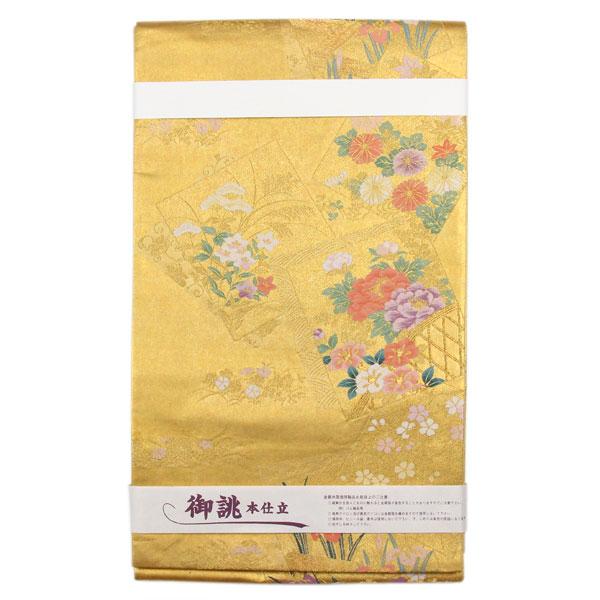 【お仕立て上がり】【訳有り】本金引箔 焼箔 袋帯「色紙花柄」フォーマル用 pt3510【smtb-k】【w1】【後払い決済不可】