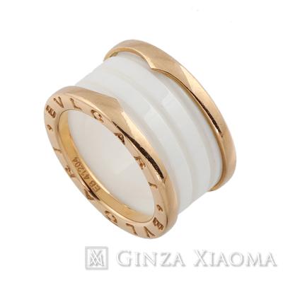 【美品】BVLGARI ブルガリ リング 指輪 B-ZERO1 ビーゼロワン K18 PG セラミック ホワイト 白 #52 #12号 9.6g 中古 人気
