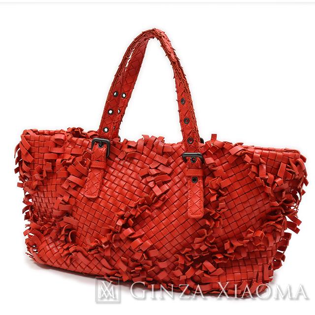 【中古】 Bottega Veneta ボッテガヴェネタ イントレチャート メッシュレザー トートバッグ オレンジ 278480 ハンドバッグ