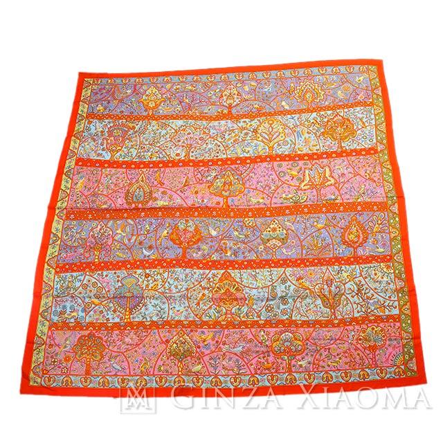 【未使用】HERMES エルメス ショール カレ 140 [Au Pays des Oiseaux Fleurs 花咲く鳥たちの国で] オレンジ カシミア シルク スカーフ