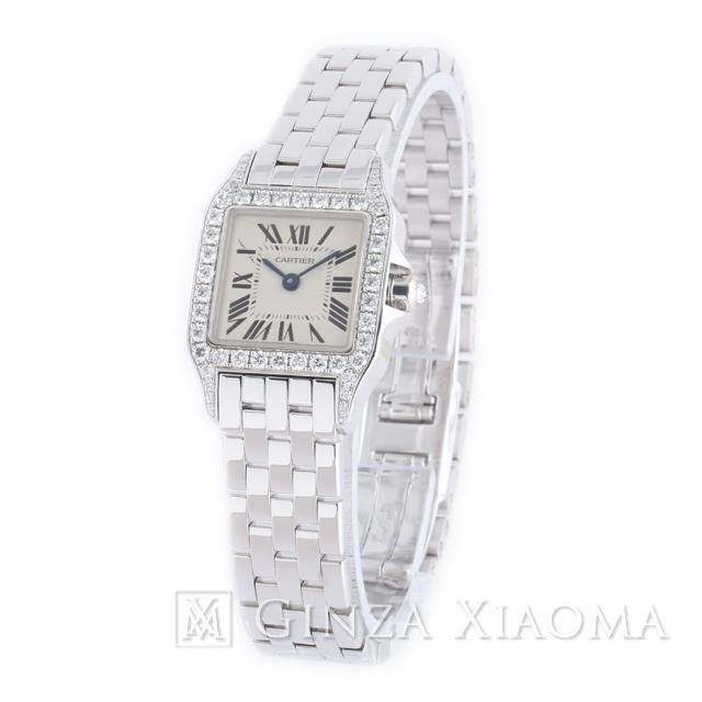 【中古】 Cartier カルティエ サントスドゥモワゼル SM WF9003Y8 K18WG ダイヤベゼル レディース 腕時計 値下げ