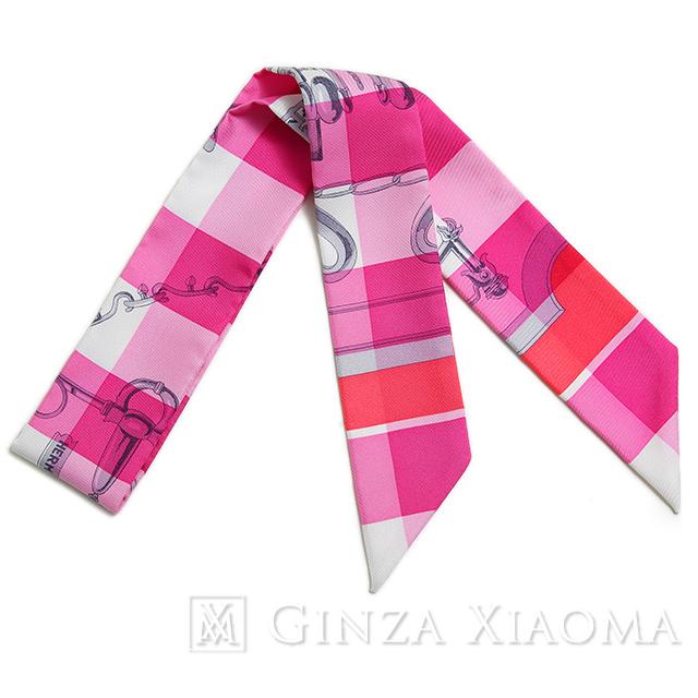 【新品】 HERMES エルメス ツイリー 金具柄 チェック柄 ピンク系 シルク スカーフ