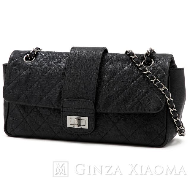 2067ac984a012f CHANEL Chanel 2.55 line chain shoulder caviar skin vintage black shoulder  bag ...