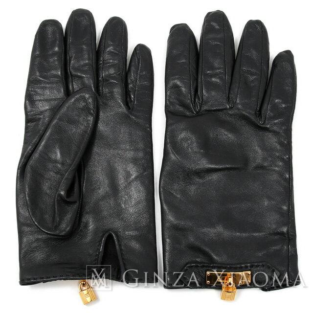 【中古】 HERMES エルメス カデナ レザーグローブ 手袋 ブラック 黒 値下げ