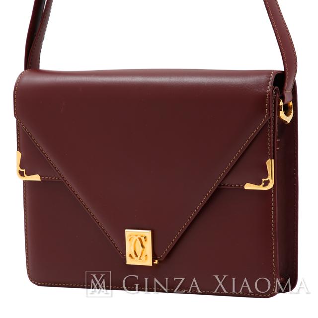 【中古】 Cartier カルティエ マストライン 2wayショルダーバッグ ボルドー ハンドバッグ