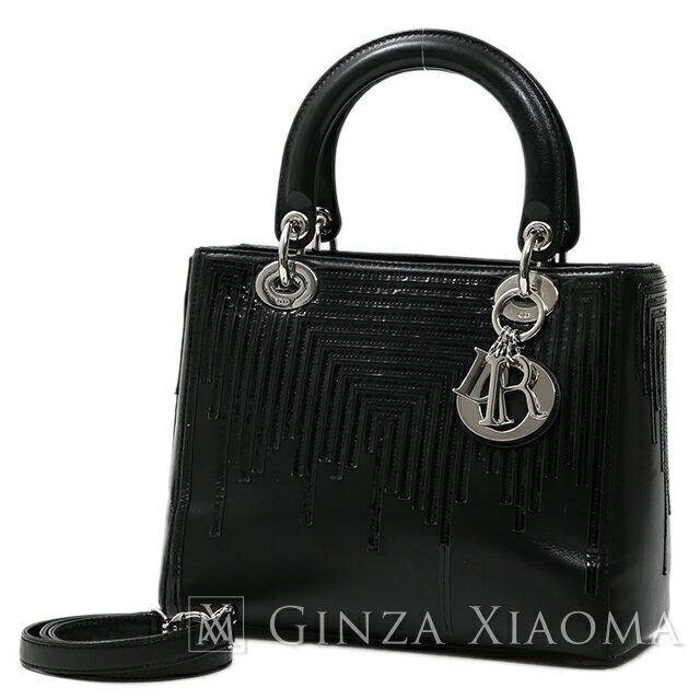 【中古】 Christian Dior クリスチャンディオール レディディオール 2way バッグ レザー×エナメル ブラック 黒 ハンドバッグ ショルダー 値下げ