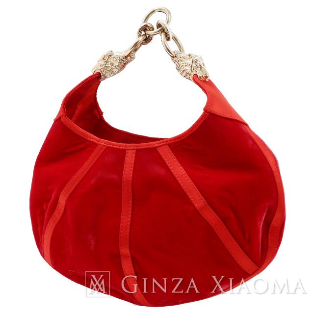 【中古】ARMANI アルマーニ ラインストーン付ハンドバッグ レッド 赤 パーティーバッグ イブニングバッグ 値下げ