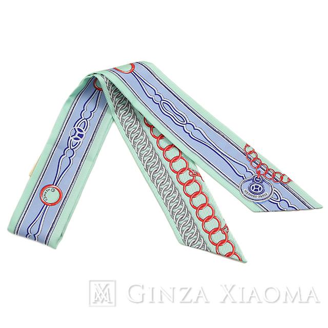 【新品】 HERMES エルメス ツイリー [MAILLONS マイヨン ]リングチェーン柄 リボン柄 グリーン/ブルー系 シルク スカーフ