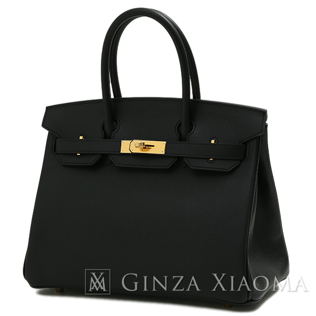 c195ac42485  new article  HERMES Hermes Birkin 30 Epson black gold metal fittings A  carved seal handbag black