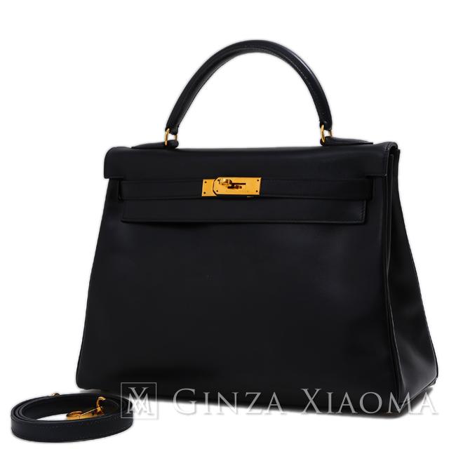 【中古】HERMES エルメス ケリー 32 ボックスカーフ ブラック ゴールド金具 〇Z刻印 内縫い 黒 ハンドバッグ