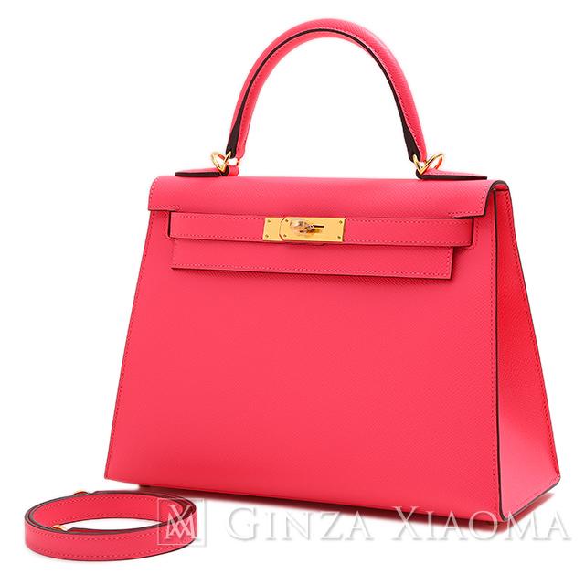 【新品】HERMES エルメス ケリー 28 エプソン ローズアザレ ゴールド金具 C刻印 外縫い ハンドバッグ