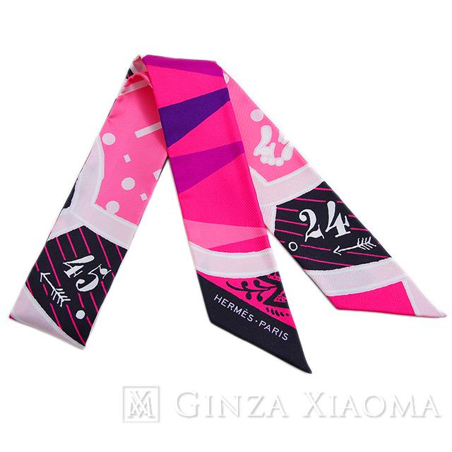 【新品】HERMES エルメス ツイリー [JEU DE SOIE シルク・ゲーム] ピンク系 シルク