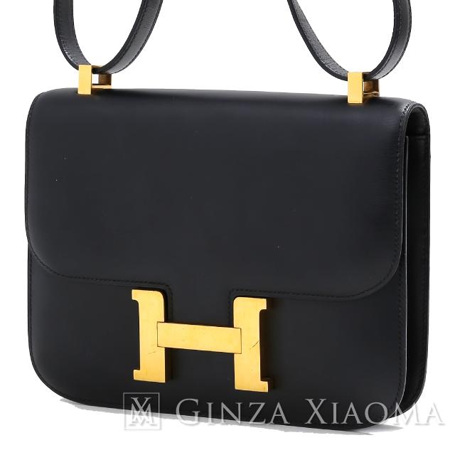 【中古】HERMES エルメス コンスタンス 24 ボックスカーフ ブラック 黒 ゴールド金具 〇X刻印 ショルダーバッグ