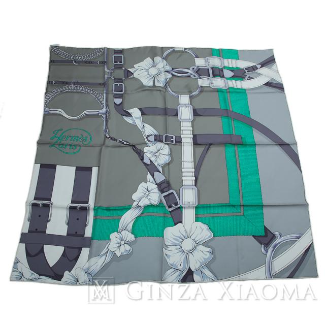【新品】HERMES エルメス カレ90 花 ベルト柄 グレー/グリーン シルク