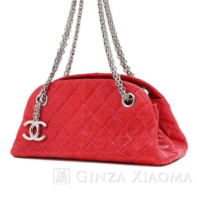 f4075a122243 GINZA XIAOMA: Auth CHANEL chain shoulder bag lizard red | Rakuten ...