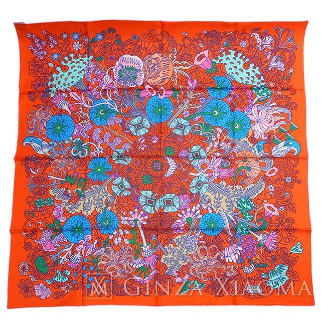 【新品】HERMES エルメス カレ90 Cache‐cache オレンジ シルク100% スカーフ