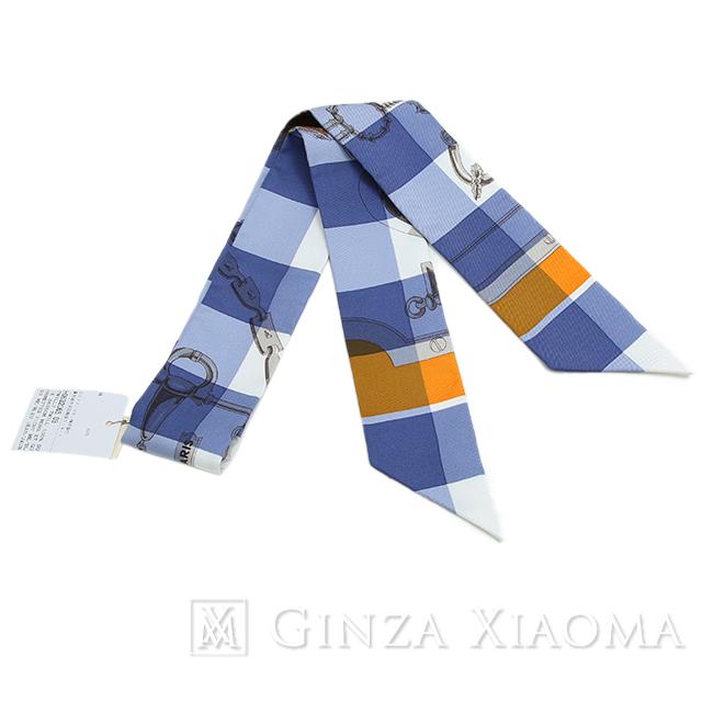 【新品】HERMES エルメス ツイリー Mors et Gourmettes Vichy チェック柄 シルク ブルー系 スカーフ