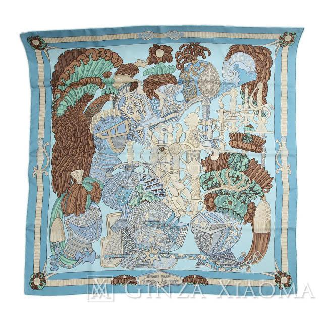 【中古】HERMES エルメス カレ90 ARMETS en PANACHE 羽飾りの騎兵兜 ブルー系 シルク スカーフ