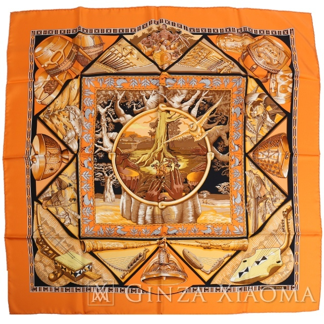 【銀座のエルメス専門店】【品数600以上】【中古SA/極美品】HERMES エルメス カレ90 [Au Son du Tam Tam タムタムの音に合わせて] オレンジ シルク スカーフ