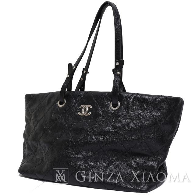 Chanel On The Road Tote Bag Black Quilting Leather Here Mark Goes To Work And School