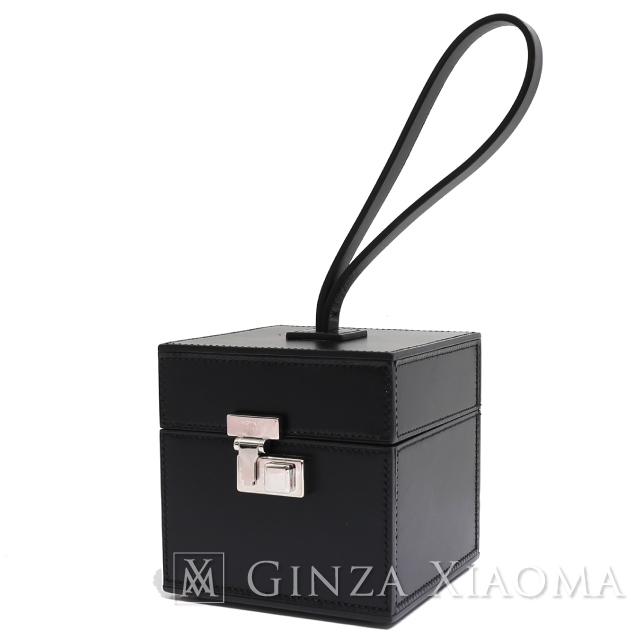 【中古A/美品】MOYNAT PARIS モワナ ボックス型 バニティバッグ カーフレザー ブラック シルバー金具 黒 フォーマルバッグ パーティーバッグ ハンドバッグ