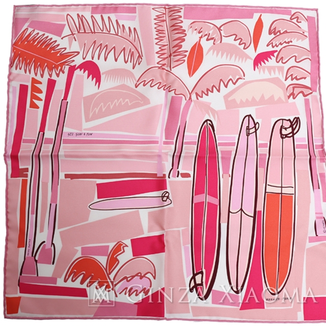 【銀座のエルメス専門店】【品数600以上】【新品】HERMES エルメス プチカレ45 [SEA SURF AND FUN 海とサーフとファン] ピンク シルク スカーフ