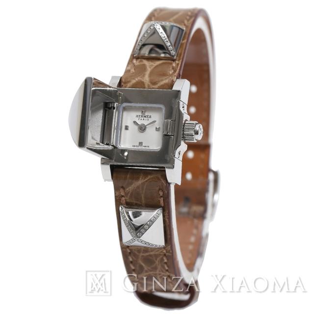 【美品】HERMES エルメス 腕時計 メドールウォッチ ME2.131 クロコダイルアリゲーター ダイヤモンド シルバー金具 ベージュ系 レディース 廃盤 定番 人気 中古