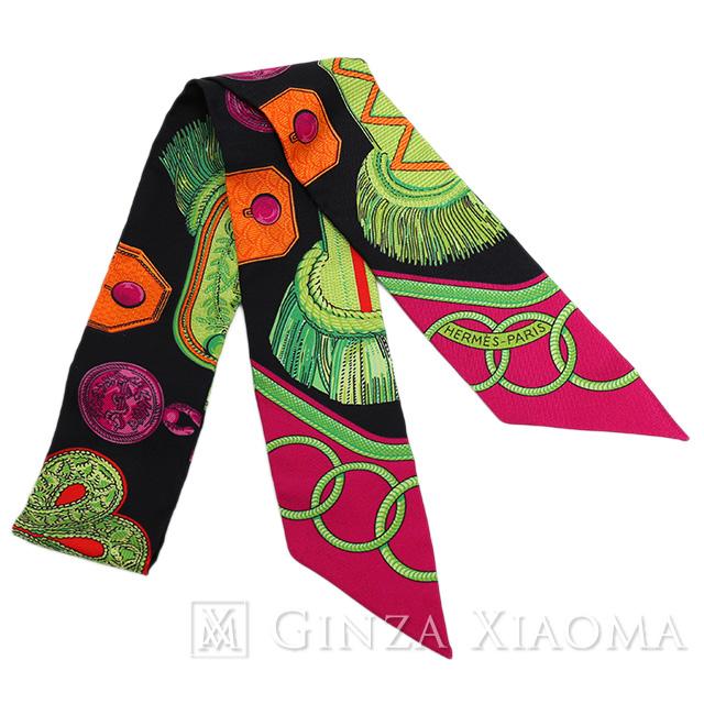 【未使用】HERMES エルメス ツイリー スカーフ ピンク ブラック 柄 人気 おしゃれ 首に巻く かわいい バッグに巻く 定番 人気 プレゼント ギフト 中古