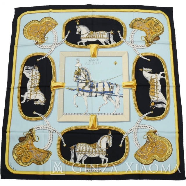 HERMES エルメス カレ90[GRAND APPARAT / 盛装の馬] ブラック/ブルー シルク スカーフ 【中古】