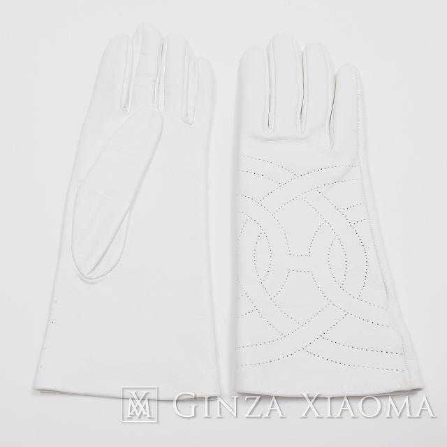 《未使用》 HERMES エルメス グローブ ホワイト #7 手袋 【未使用】