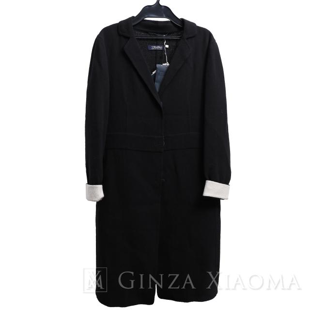 【未使用】Max Mara マックスマーラ アウター ロングジャケット ウール ブラック 黒 サイズ34 コート ギフト プレゼント 冬 レディース 中古