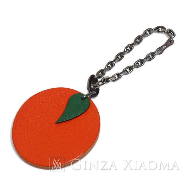 【美品】HERMES エルメス バッグチャーム キーチェーン レザー オレンジ かわいい 定番 人気 中古