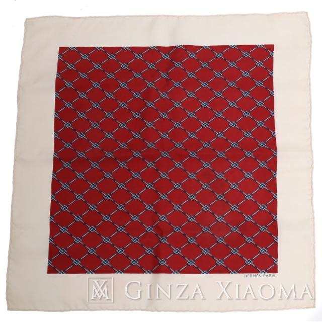 【未使用】HERMES エルメス プチカレ スカーフ ホワイトレッド シルク チーフ 人気柄 結婚式 定番 中古