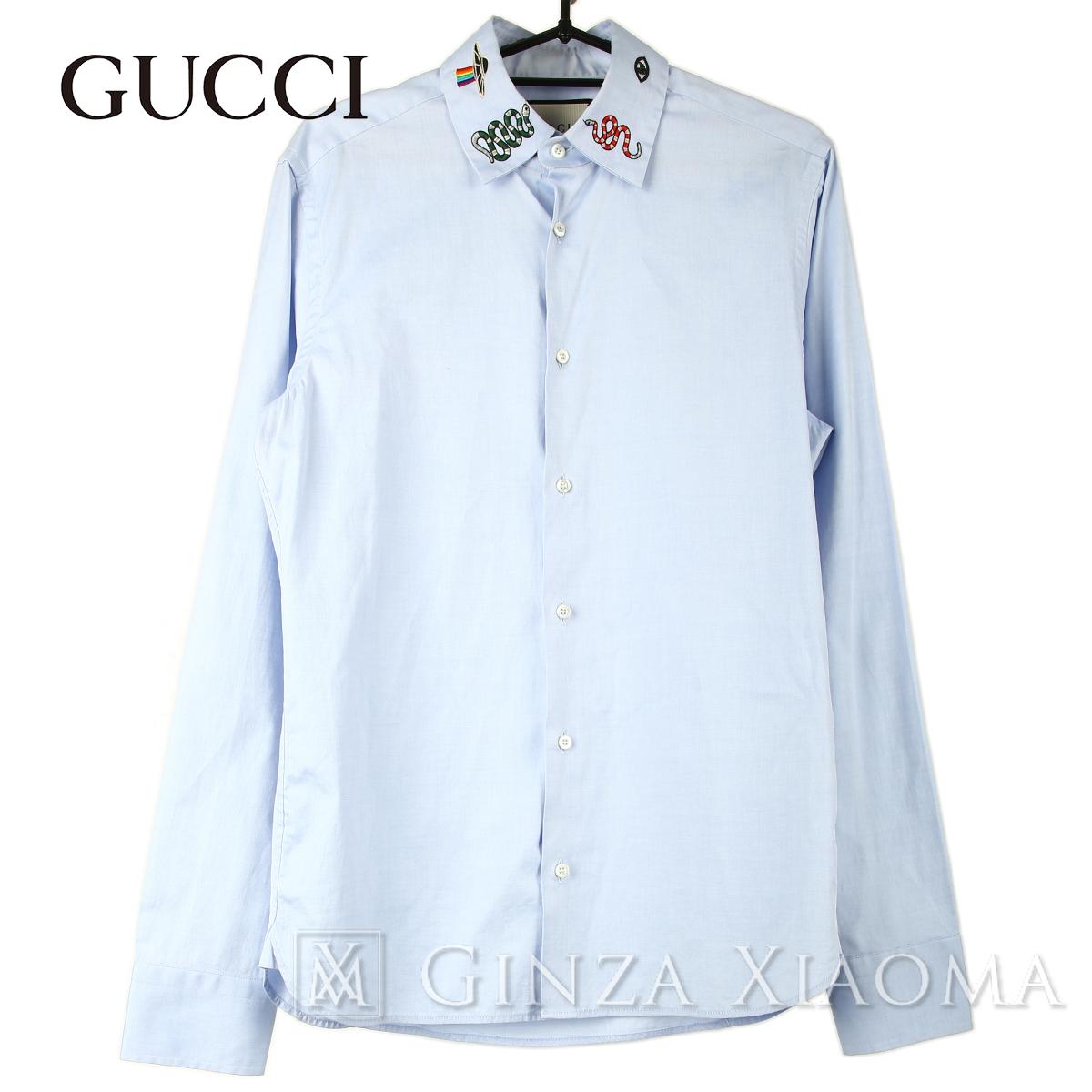 【美品】GUCCI グッチ トップス 刺繍入り 長袖 ダンガリーシャツ ブルー コットン メンズ 春夏 中古 イタリア製
