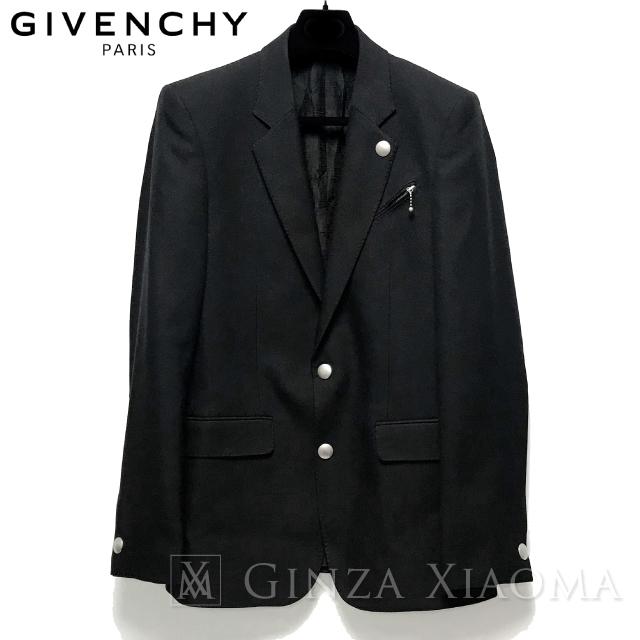 【美品】GIVENCHY ジバンシィ テーラードジャケット シングル ブラック 黒 サイズ48 メンズ 中古
