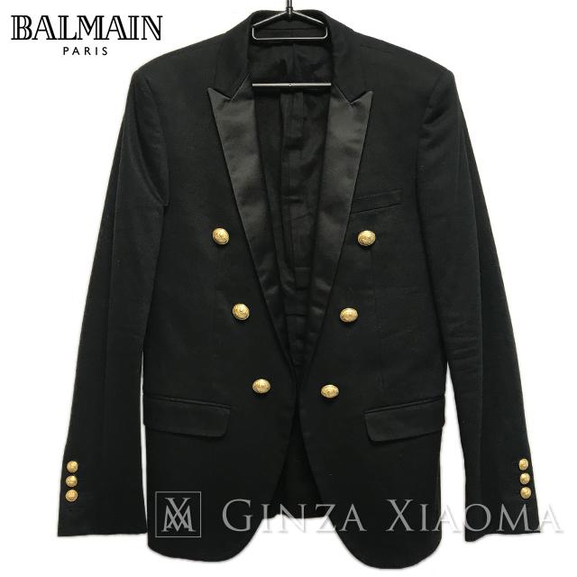 【美品】BALMAIN バルマン テーラードジャケット ブラック 黒 サイズ46 メンズ イタリア製 中古 羽織 人気 定番