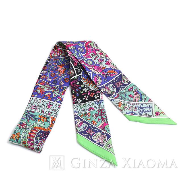 【美品】HERMES エルメス ツイリー シルク グリーン ブルー ブラック スカーフ 柄 人気 おしゃれ 首に巻く バッグに巻く かわいい 定番 人気 プレゼント ギフト 中古