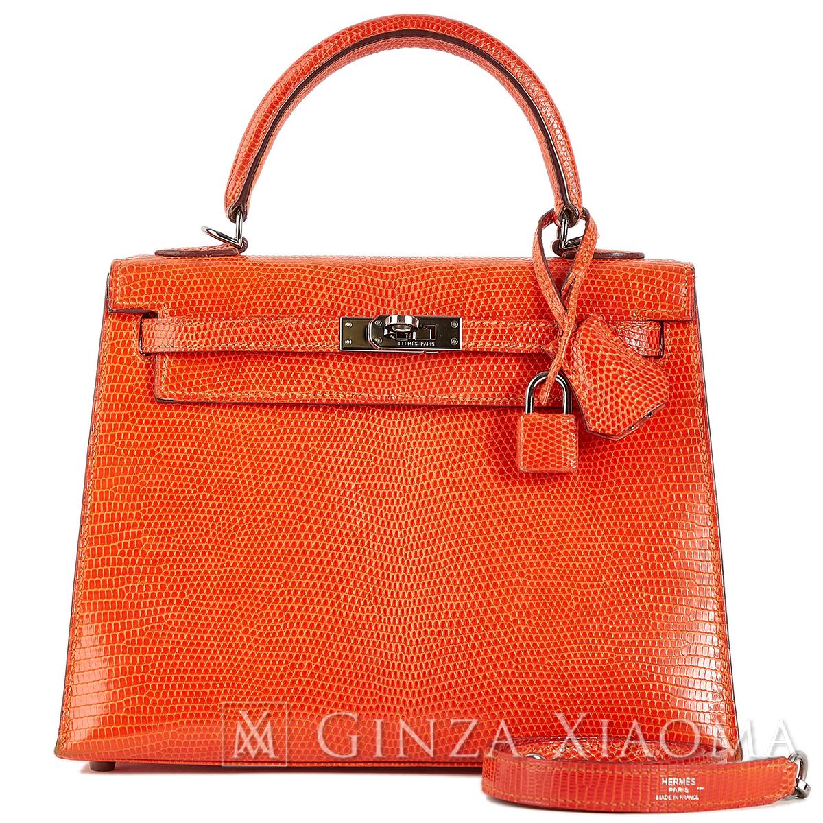 【美品】HERMES エルメス ハンドバッグ ケリー 25 外縫い リザード オレンジ ルテニウム金具 □K刻印 中古