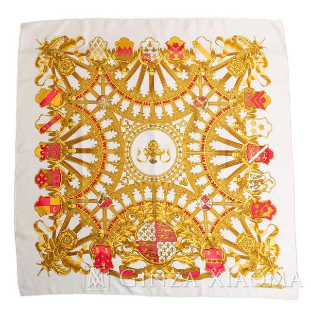 【美品】HERMES エルメス スカーフ カレ90 英国紋章 シルク ホワイト ピンク 人気柄 結婚式 定番 英国紋章 中古