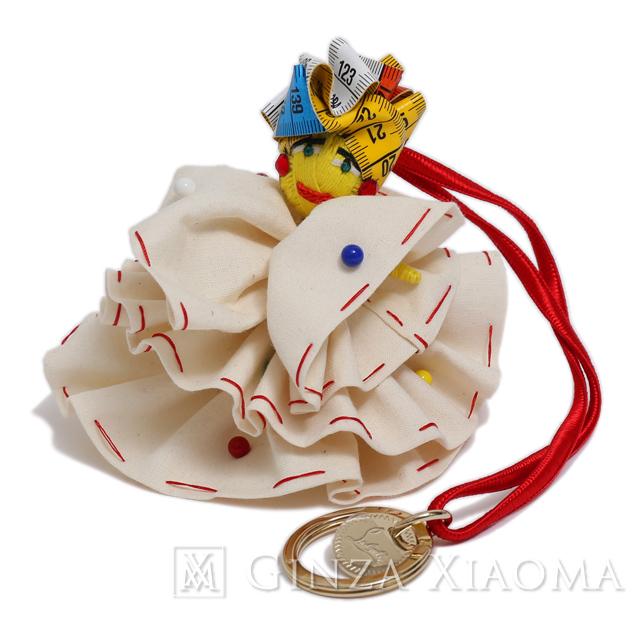 【新品】 Christian Louboutin クリスチャンルブタン ドール バッグチャーム キーリング キーホルダー キャンバス ホワイト イエロー ゴールド金具