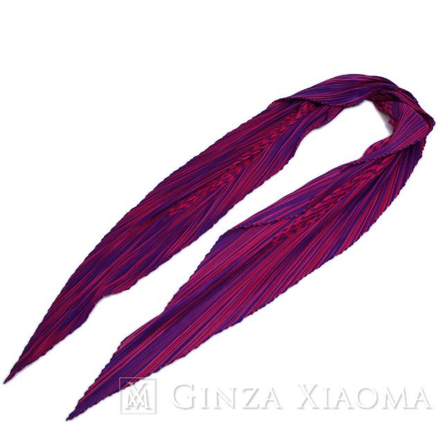 【美品】HERMES エルメス プリーツ スカーフ シルク パープル 廃盤 紫 中古