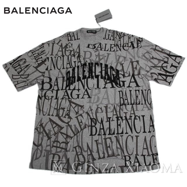 【未使用】Balenciaga バレンシアガ トップス カットソー Tシャツ コットン グレー サイズXS メンズ 夏 半袖 ロゴ 総柄 大きめ トレンド オーバーサイズ 定番 春