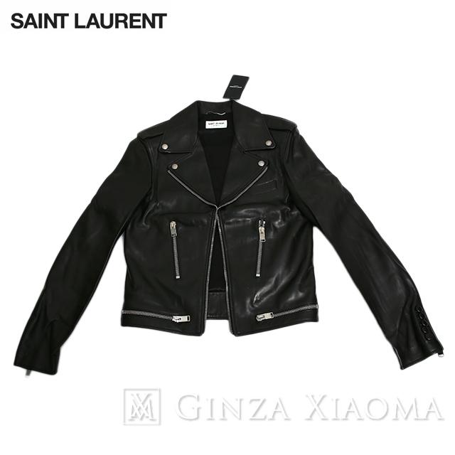 【極美品】SAINT LAURENT サンローラン アウター レザージャケット ラムレザー ブラック 黒 サイズ46 レディース 中古