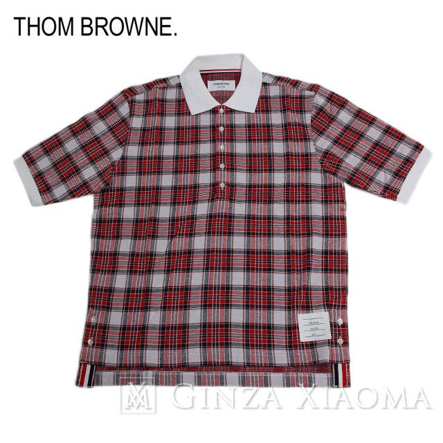 【未使用】THOM BROWNE トムブラウン トップス 半袖 ポロシャツ チェック柄 コットン レッド 赤 メンズ 夏 中古